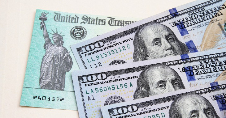 U.S. Treasury Refund Check with $100 Bills